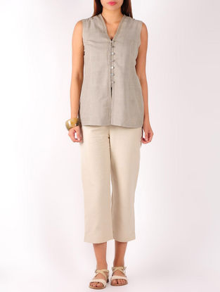 Beige Stitch Detailed Khadi Top