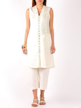 Cream Stitch Detailed Khadi Tunic