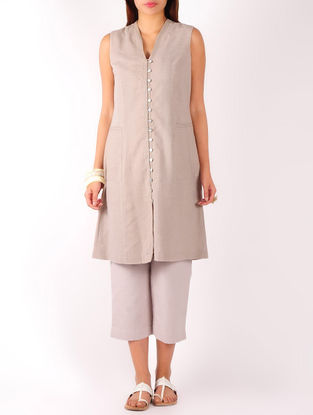 Dusty Mauve Stitch Detailed Khadi Tunic
