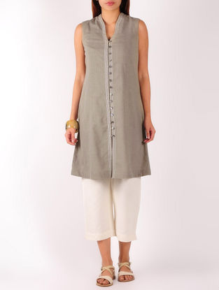 Olive Stitch Detailed Khadi Tunic