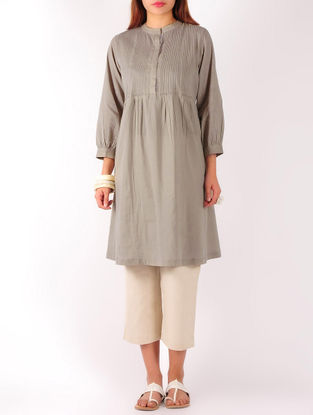 Grey Pintuck with Zari Stitch Detailed Cotton Tunic