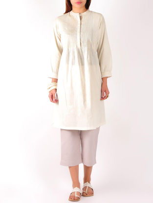Cream Pintuck with Zari Stitch Detailed Cotton Tunic