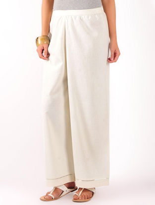 Cream Stitch Detailed Khadi Elasticated & Tie-Up Waist Palazzos