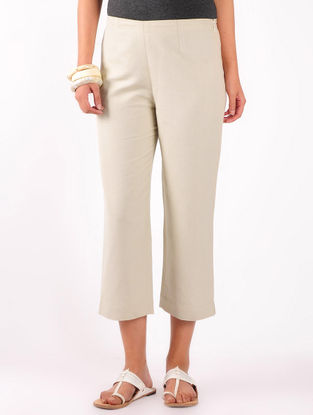 Beige Cotton-Linen Crop Pants