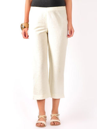 Cream Cotton-Linen Crop Pants