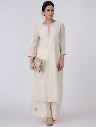 Ivory-Golden Gota Patti Embroidered Zari Pintuck Chanderi Kurta