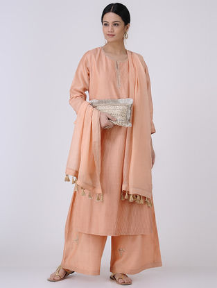 Peach-Golden Gota Patti Embroidered Zari Pintuck Chanderi Kurta