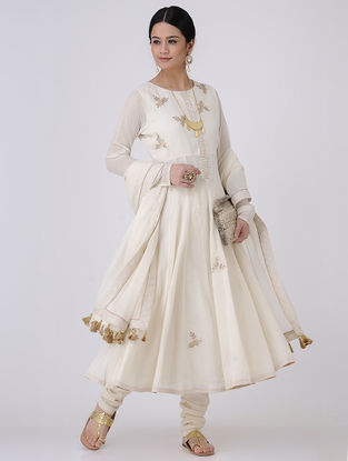 Ivory-Golden Gota Patti Embroidered Cotton Voile Kalidar Kurta