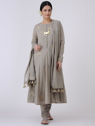Grey-Golden Gota Patti Embroidered Cotton Voile Kalidar Kurta