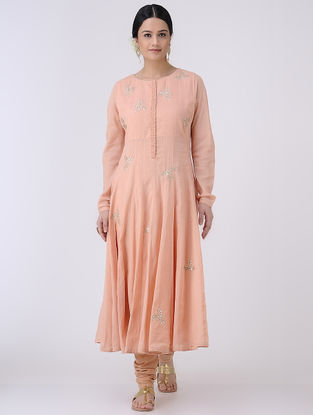 Peach-Golden Gota Patti Embroidered Cotton Voile Kalidar Kurta