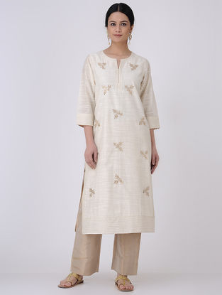 Ivory-Golden Gota Patti Embroidered Chanderi Kurta with Zari