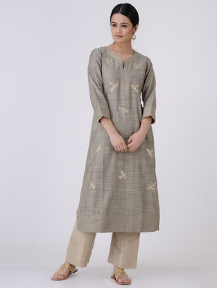 Grey-Golden Gota Patti Embroidered Chanderi Kurta with Zari