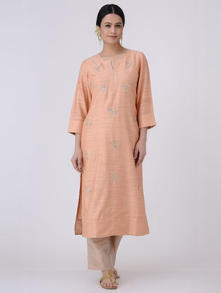 Peach-Golden Gota Patti Embroidered Chanderi Kurta with Zari