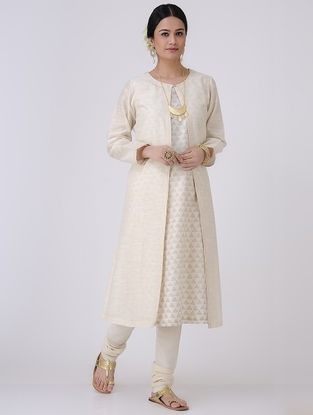 Ivory-Golden Front-open Chanderi Jacket