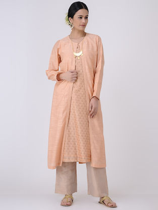 Peach-Golden Front-open Chanderi Jacket