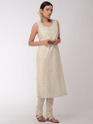 Ivory-Golden Block-Printed Chanderi Kurta