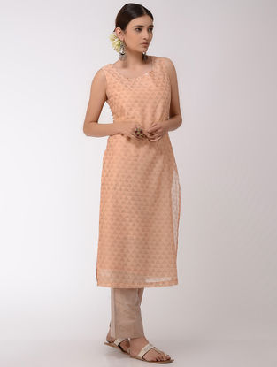 Peach-Golden Block-Printed Chanderi Kurta