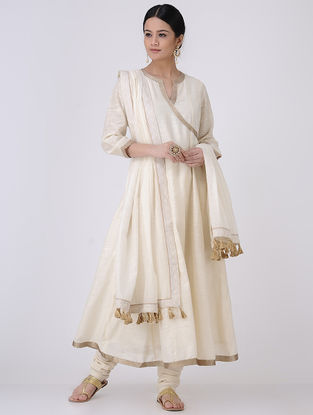Ivory-Golden Zari Embroidered Chanderi Kurta
