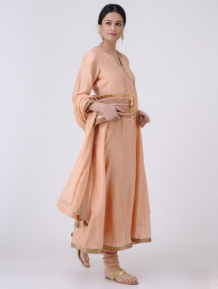 Peach-Golden Zari Embroidered Chanderi Kurta