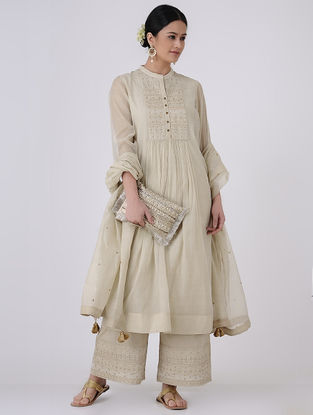 Beige-Golden Zari and Sequin Embroidered Chanderi Kurta