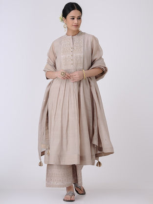 Taupe-Golden Zari and Sequin Embroidered Chanderi Kurta