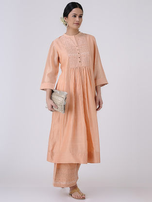 Peach-Golden Zari and Sequin Embroidered Chanderi Kurta