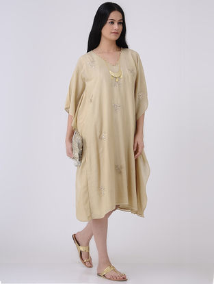 Beige-Golden Gota Patti Embroidered Cotton Silk Kaftan