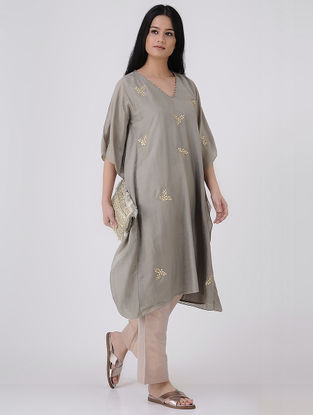 Grey-Golden Gota Patti Embroidered Cotton Silk Kaftan