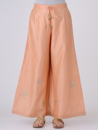 Peach-Golden Elasticated-waist Gota Patti Embroidered Chanderi Palazzos