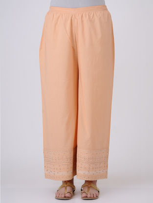 Peach Elasticated-waist Zari and Sequin Embroidered Cotton Palazzos