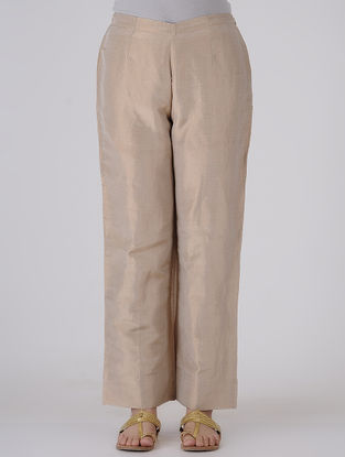 Beige Elasticated-waist Silk Tissue Pants