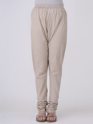 Taupe Elasticated-waist Cotton Voile Churidar