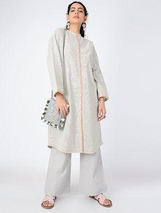 Ivory-Black Button-up Handloom Khadi Tunic