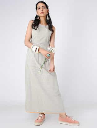 Ivory-Black Handloom Khadi Maxi Dress