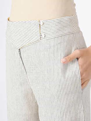 Ivory-Black Handloom Khadi Pants