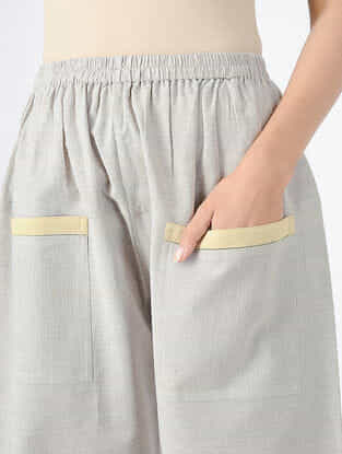 Grey Elasticated Waist Handloom Khadi Pants