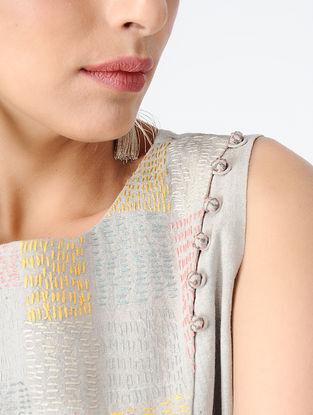 Grey Embroidered Handloom Khadi Top