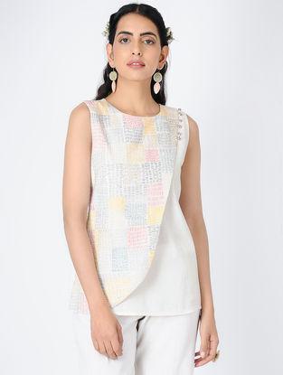 Ivory Embroidered Handloom Khadi Top