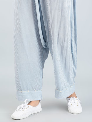 Blue Striped Cotton Pants with Button Detailing