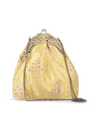 Yellow Floral Handcrafted Brocade Batuwa