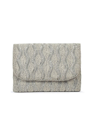 Silver Hand-Embroidered Satin Flapover Clutch