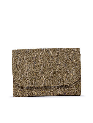Gold Hand-Embroidered Satin Flapover Clutch