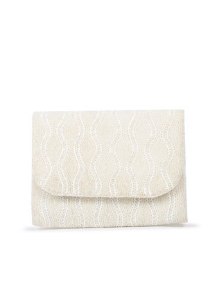 Off-White Hand-Embroidered Satin Flapover Clutch