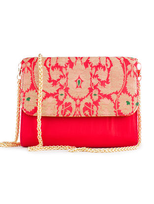 Red Handmade Brocade Silk Clutch