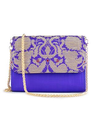 Blue Handmade Brocade Silk Clutch