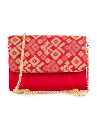Red Handmade Ikat Brocade Silk Clutch