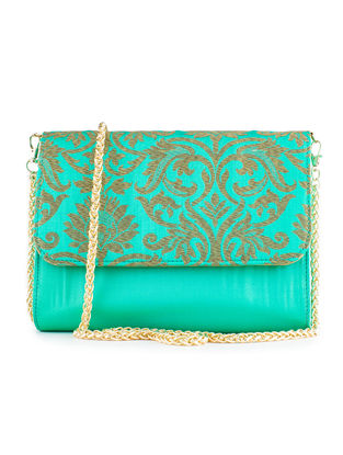 Turquoise Handmade Brocade Silk Clutch