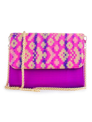 Pink-Purple Handmade Ikat Brocade Silk Clutch