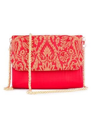 Red Handmade Brocade Silk Clutch