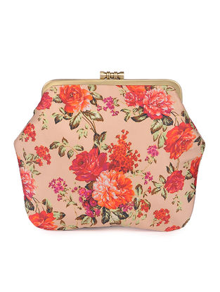 Peach Hand-crafted Floral Printed Satin Clutch